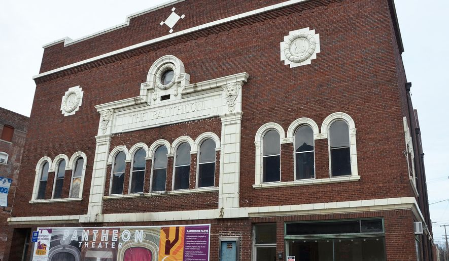 This March 8, 2016 photo shows the Pantheon Theatre in Vincennes, Ind., Officials with INVin nearly two years ago purchased the historic Pantheon Theatre in the hope of seeing its name in lights once again. Originally built in 1919, the theater has fallen into a state of disrepair, but for many years it served as a center of entertainment and a hub of creativity. (Gayle R. Robbins/The Sun Commercial via AP) MANDATORY CREDIT