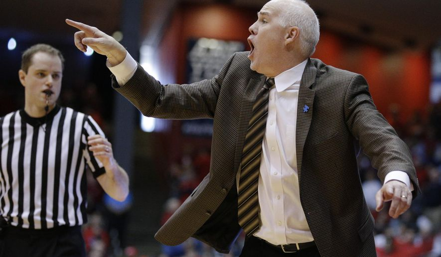 FILE - In this Feb. 20, 2016, file photo, St. Bonaventure head coach Mark Schmidt reacts during the first half of their NCAA college basketball game against Dayton, in Dayton, Ohio. St. Bonaventure is the third seed entering the A-10 tournament, which it will open on Friday in the quarterfinal round against an opponent not yet determined.  (AP Photo/John Minchillo, File)