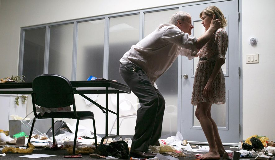"""This image released by Philip Rinaldi Publicity shows actress Michelle Williams, right, and Jeff Daniels during a performance of """"Blackbird."""" (Brigitte Lacombe/Philip Rinaldi Publicity via AP)"""