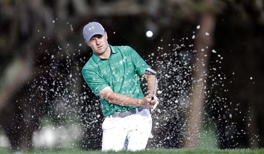 Jordan Spieth hits out of the bunker on the 10th hole during the first round of the Valspar Championship golf tournament Thursday, March 10, 2016, in Palm Harbor, Fla. (AP Photo/Brian Blanco)