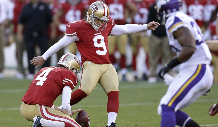 FILE - In this Aug. 25, 2013, file photo, San Francisco 49ers' Phil Dawson (9) kicks a field goal from the hold of punter Andy Lee (4) during an NFL preseason football game against the Minnesota Vikings in San Francisco. Veteran kicker Dawson reached agreement on a one-year contract to keep one of the 49ers' most consistent players with the team for the 2016 season, two people with direct knowledge of the deal said Friday night, March 11, 2016. (AP Photo/Ben Margot, File)
