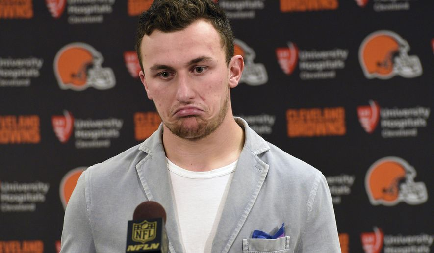 FILE - In this Nov. 15, 2015, file photo, Cleveland Browns quarterback Johnny Manziel attends a post-game news conference after a 30-9 loss to the Pittsburgh Steelers, in Pittsburgh. The Browns have released troublesome quarterback Johnny Manziel.  The team cut ties on Friday, March 11, 2016, with the 2012 Heisman Trophy winner after two disappointing, drama-filled seasons. Manziel faces an uncertain future in the NFL and potential criminal charges in Texas following a domestic violence incident.  (AP Photo/Don Wright, File)