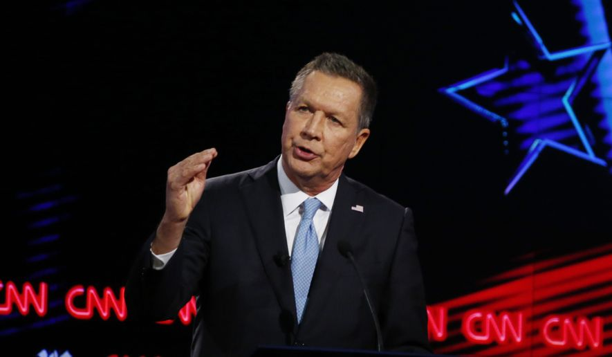 Republican presidential candidate, Ohio Gov. John Kasich, speaks during the Republican presidential debate sponsored by CNN, Salem Media Group and the Washington Times at the University of Miami,  Thursday, March 10, 2016, in Coral Gables, Fla. (AP Photo/Wilfredo Lee) ** FILE **