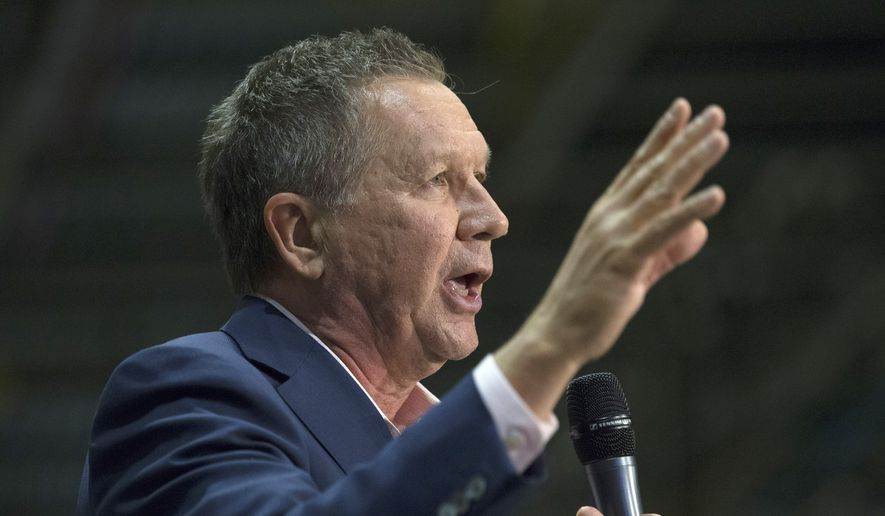 Republican presidential candidate, Ohio Gov. John Kasich speaks during a campaign stop at the Fuyao Glass America plant, Friday, March 11, 2016, in Moraine, Ohio. (AP Photo/John Minchillo)