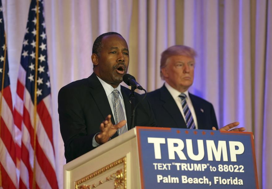Former Republican presidential candidate Ben Carson, speaks after announcing he will endorse Republican presidential candidate Donald Trump, right, during a news conference at the Mar-A-Lago Club, Friday, March 11, 2016, in Palm Beach, Fla. (AP Photo/Lynne Sladky) ** FILE **