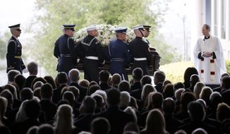 The casket carrying Nancy Reagan arrives for the funeral service at the Ronald Reagan Presidential Library, Friday, March 11, 2016 in Simi Valley, Calif. (AP Photo/Jae C. Hong)