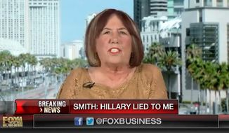 "The mother of Sean Smith, a U.S. information management officer killed in the 2012 attack in Benghazi, said Thursday that there's ""a special place in Hell for people like"" Hillary Clinton. (Fox Business Network) ** FILE **"