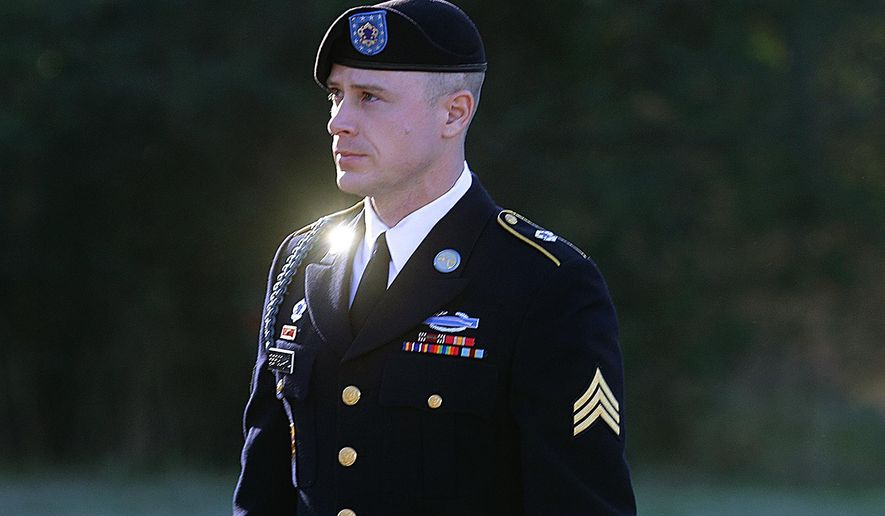In this Tuesday, Jan. 12, 2016, file photo, Army Sgt. Bowe Bergdahl arrives for a pretrial hearing at Fort Bragg, N.C.  (AP Photo/Ted Richardson, File)