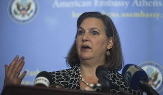 U.S. Assistant Secretary of State Victoria Nuland speaks during a news conference at the U.S. Embassy in Athens, on Friday, March 11, 2016. (AP Photo/Petros Giannakouris)