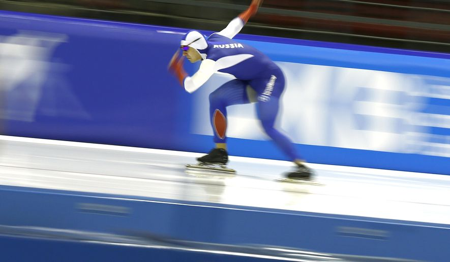 Russia's Ruslan Murashov skates during the first men's 500 meter race of the Speedskating World Cup final at Thialf ice rink in Heerenveen, Netherlands, Friday, March 11, 2016. (AP Photo/Peter Dejong)