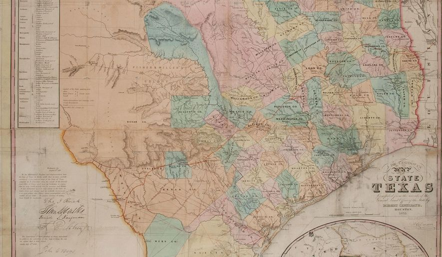This photo provided by Heritage Auctions shows a 1853 copy of De Cordova's Map of Texas, accompanied by military documents and a letter to James M. Manning. A rare, early map of Texas and another historical document discovered in a box of sheet music purchased for $10 at an Indiana estate auction in the 1980s could sell for as much as $7,000 at auction. Heritage Auctions is offering the items Saturday, March 12, 2016 in Dallas.( Donna Helm/Heritage Auctions via AP)