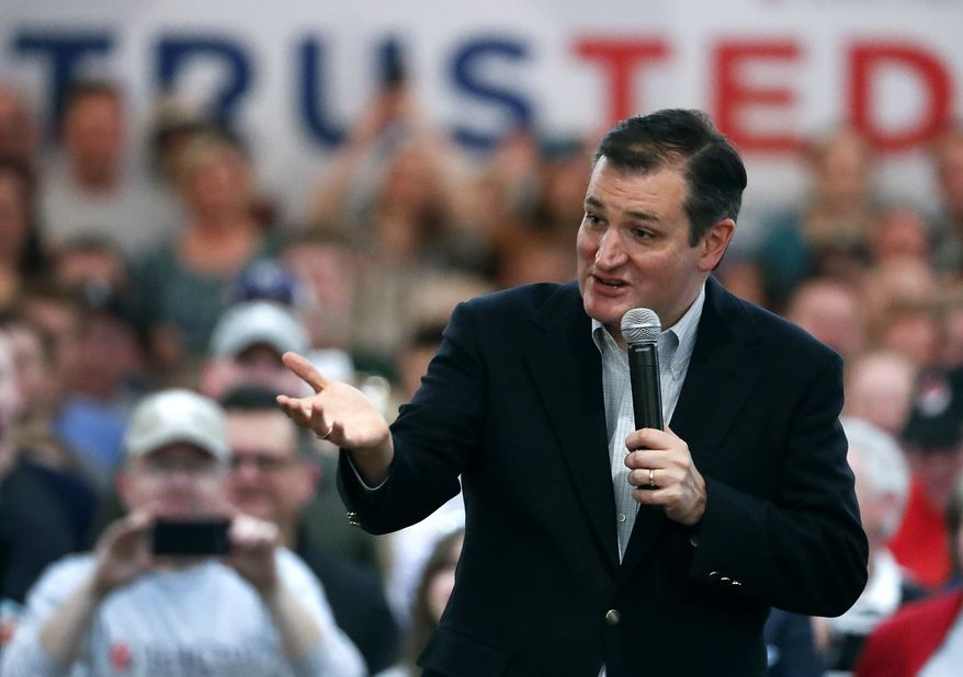 Republican presidential candidate, Sen. Ted Cruz, R-Texas, speaks during a campaign rally at the Adam's Mark Hotel Saturday, March 12, 2016, in Kansas City, Mo. (AP Photo/Charlie Riedel)