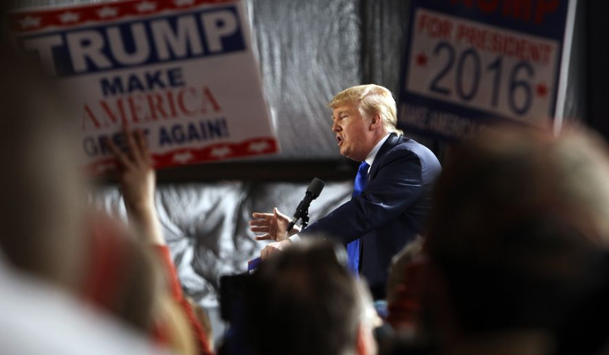 Republican presidential candidate, businessman Donald Trump, speaks at the Wright Brothers Aero Hangar during a rally, Saturday, March 12, 2016, in Vandalia, Ohio. (AP Photo/Kiichiro Sato)