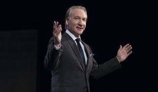 "This photo provided by HBO shows host Bill Maher on the television show ""Real Time With Bill Maher,"" in Los Angeles, Friday, March 11, 2016.  The show airs Fridays at 10 p.m. ET. (Janet Van Ham/HBO via AP)"