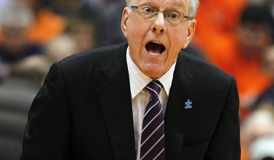 FILE - In this Feb. 20, 2016, file photo, Syracuse head coach Jim Boeheim yells to his players in the first half of an NCAA college basketball game against Pittsburgh,  in Syracuse, N.Y. At this time of year college basketball coaches often sound like political candidates looking for votes as they tout their teams' NCAA tournament worthiness.  (AP Photo/Nick Lisi, File)