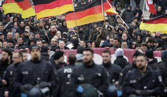 Protesters hold German flags as they take part in a demonstration against the refugee policy of the German government in Berlin, Germany, Saturday, March 12, 2016. (AP Photo/Michael Sohn) ** FILE **