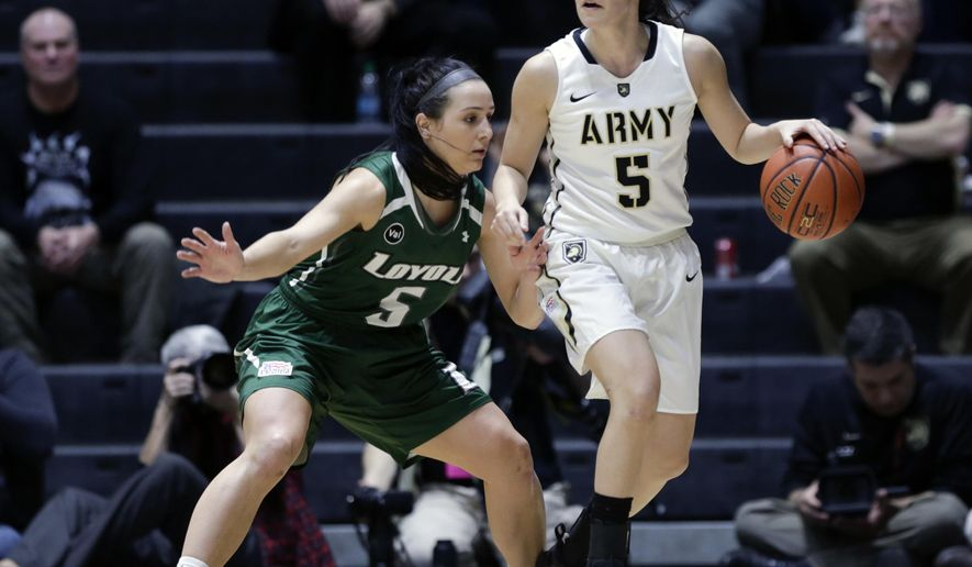 Army guard Kelsey Minato (5) works against Loyola (Md.) guard Colleen Marshall during the first half an NCAA women's college basketball game in the Patriot League tournament championship on Saturday, March 12, 2016, in West Point, N.Y. (AP Photo/Mike Groll)