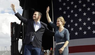 Republican presidential candidate Sen. Ted Cruz, R-Texas, and wife Heidi greet supporters during a campaign rally in Concord, N.C., Sunday, March 13, 2016. (AP Photo/Gerry Broome)