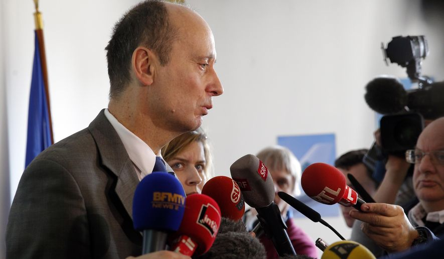 Remi Jouty, director of BEA, the French Air Accident Investigation Agency, speaks to journalists during a press conference at Le Bourget airport, north of Paris, Sunday, March 13, 2016. Germanwings co-pilot Andreas Lubitz had been treated for depression in the past, and the investigation found that he had consulted dozens of doctors in the weeks before he deliberately crashed a jet into the French Alps on March 24, 2015, killing all 150 people on board. (AP Photo/Christophe Ena)