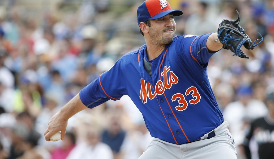 New York Mets' starting pitcher Matt Harvey delivers the ball during the first inning of an exhibition spring training baseball game against the Marlins, Sunday, March 13, 2016, in Jupiter, Fla. (AP Photo/Brynn Anderson)