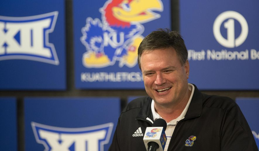 Kansas head coach Bill Self as he speaks to media members during a news conference following the NCAA Tournament selection show on CBS, Sunday, March 13, 2016 at Allen Fieldhouse on the campus of the University of Kansas in Lawrence, Kan. The Jayhawks were given the No. 1 seed in the South Regional and will play Austin Peay on Thursday in Des Moines, Iowa. (Nick Krug/The Lawrence Journal-World via AP) MANDATORY CREDIT
