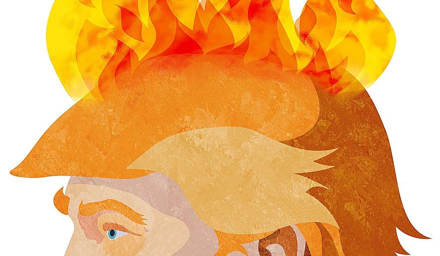 Donald Trump's Wildfire Illustration by Greg Groesch/The Washington Times