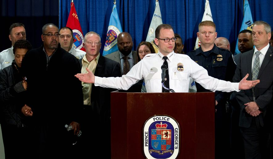 "Prince George's County Police Chief Hank Stawinski called Officer Jacai Colson ""a hero,"" saying he fired at Michael Ford, momentarily drawing the shooter's attention away from the station and affording officers a chance to take cover. No other officers were injured. (Associated Press) ** FILE **"