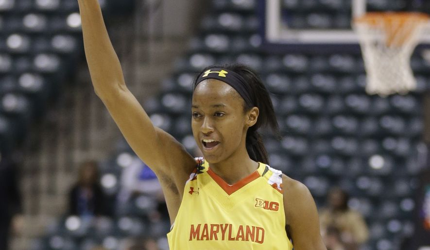 Maryland guard Shatori Walker-Kimbrough (32) celebrates in the second half of an NCAA college basketball game against Michigan State in the finals of the Big Ten Conference tournament in Indianapolis, Sunday, March 6, 2016. Maryland defeated Michigan State 60-44. (AP Photo/Michael Conroy) **FILE**