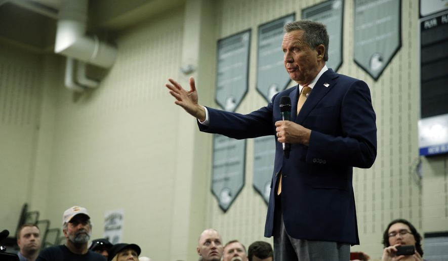 Republican presidential candidate, Ohio Gov. John Kasich speaks during a campaign stop on Monday, March 14, 2016, at Westerville Central High School in Westerville, Ohio. (AP Photo/Matt Rourke)
