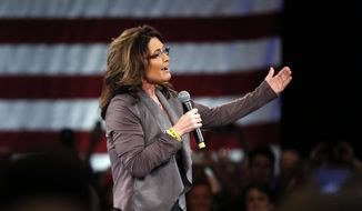 Former Alaska Gov. Sarah Palin speaks on behalf of Republican presidential candidate Donald Trump before Trump arrives at a campaign event in Tampa, Fla., Monday, March 14, 2016. (AP Photo/Gerald Herbert)