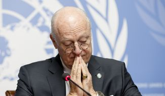 "U.N. Special Envoy of the Secretary-General for Syria, Staffan de Mistura, informs the media at the European headquarters of the United Nations in Geneva, Switzerland, Monday, March 14, 2016.  Mistura  alls peace talks ""a moment of truth,"" says the ""only Plan B available is return to war."" (Salvatore Di Nolfi/Keystone via AP)"