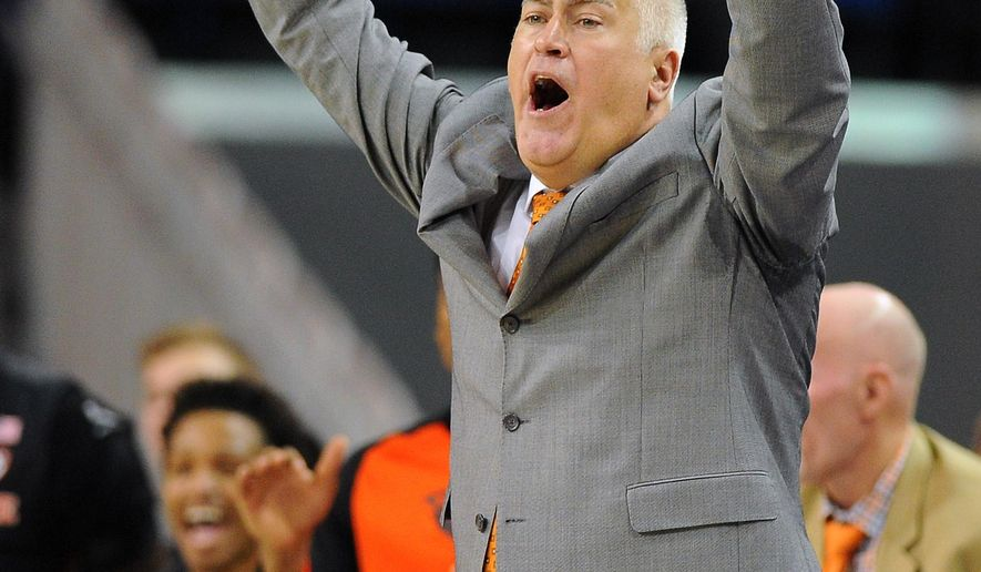FILE - In this March 5, 2016, file photo, Oregon State head coach Wayne Tinkle reacts after his team builds a lead against UCLA at an NCAA college basketball game in Los Angeles. Just two seasons ago, Oregon State was in such disarray that new head coach Wayne Tinkle held open tryouts to build a roster. Now the Beavers are headed to the NCAA tournament for the first time in 26 years. (AP Photo/Michael Owen Baker, File)
