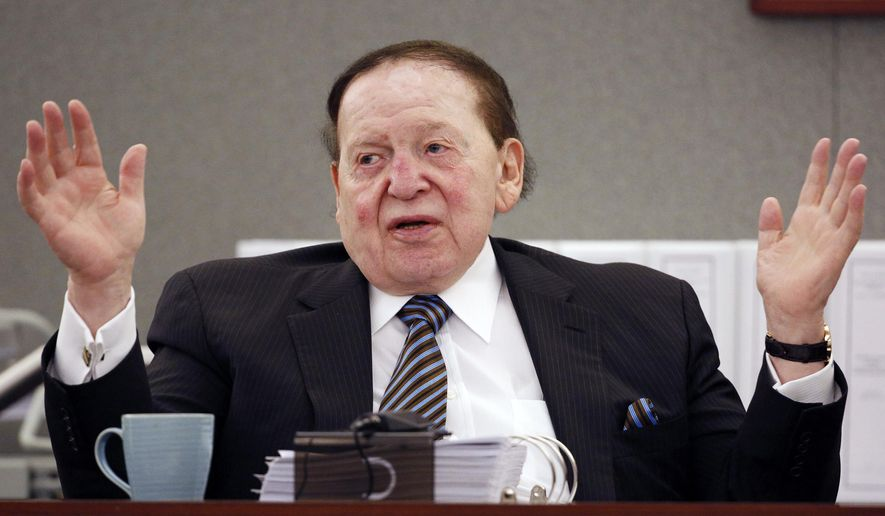 In this May 5, 2015, file photo, Las Vegas Sands Corp. Chairman and CEO Sheldon Adelson testifies in court in Las Vegas. (AP Photo/John Locher) ** FILE **