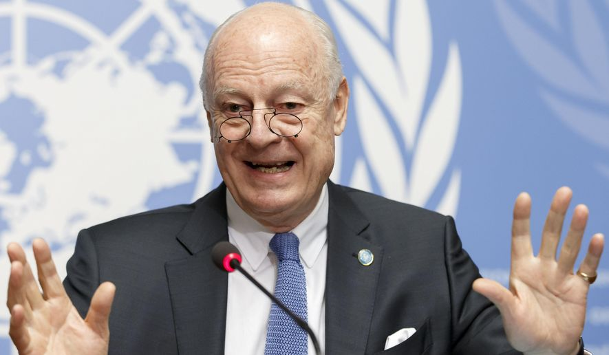 "UN Special Envoy of the Secretary-General for Syria, Staffan de Mistura , informs the media at the European headquarters of the United Nations in Geneva, Switzerland, Monday, March 14, 2016.  Mistura  calls peace talks ""a moment of truth,"" says the ""only Plan B available is return to war."" Steffan de Mistura spoke to reporters  just moments before resuming ""proximity talks"" in Geneva slightly over a month after suspending them in an upsurge in violence in Syria.  (Salvatore Di Nolfi/Keystone via AP)"