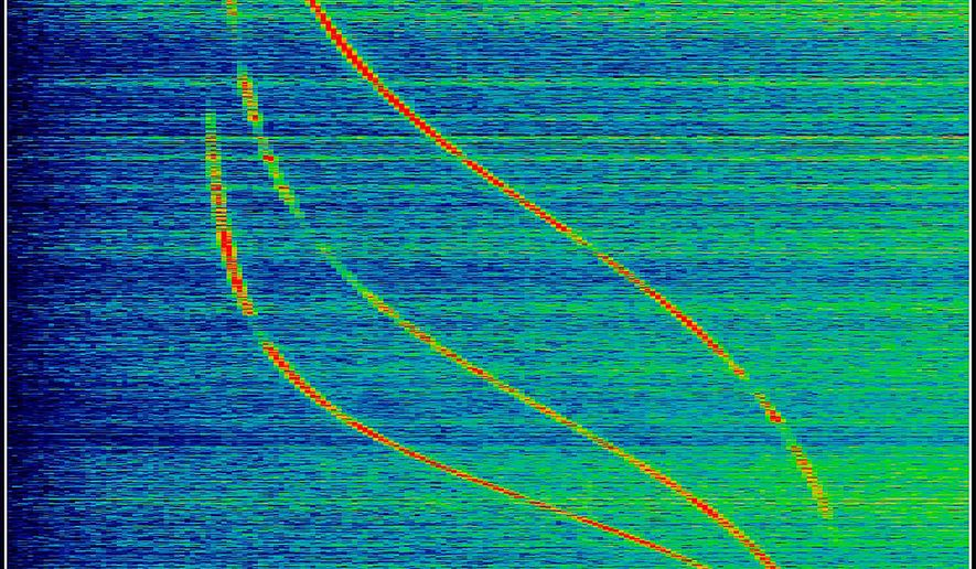 """This image released by the Whitney Museum of American Art shows a pigmented inkjet print on aluminum by Laura Poitras, titled, """"ANARCHIST: Data Feed with Doppler Tracks from a Satellite (Intercepted May 27, 2009), 2016,""""  part of a solo exhibition titled, """"Astro Noise,"""" showing at the Whitney Museum of American Art through May 1. (Laura Poitras/Whitney Museum of American Art via AP)"""