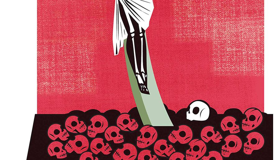 Illustration on ISIS' genocide against Christians by Linas Garsys/The Washington Times