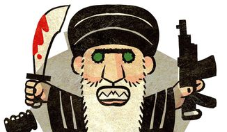 Illustration on the oppression of Iran's own population under it's justice system by Alexander Hunter/The Washington Times