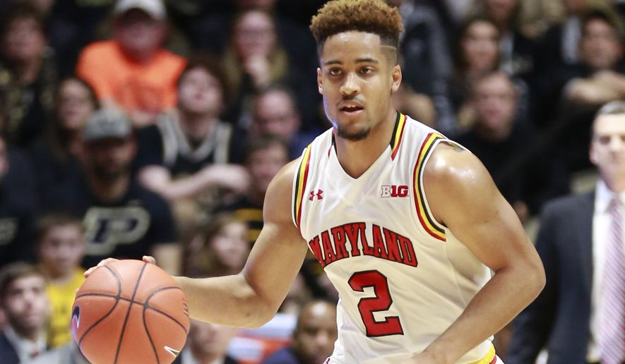 Maryland guard Melo Trimble dribbles the basketball against Purdue in the first half of an NCAA college basketball game, Saturday, Feb. 27, 2016, in West Lafayette, Ind. Purdue won 83-79.  (AP Photo/R Brent Smith) **FILE**
