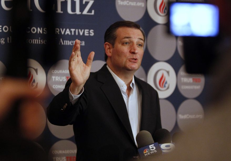 Republican presidential candidate, Sen. Ted Cruz, R-Texas, speaks to the members of the media before a rally at Abbington Banquets, Monday, March 14, 2016, in Glen Ellyn, Ill. (AP Photo/Kiichiro Sato)