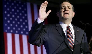 Republican presidential candidate, Sen. Ted Cruz, R-Texas, speaks during an election night watch party Tuesday, March 15, 2016, in Houston. (AP Photo/David J. Phillip)
