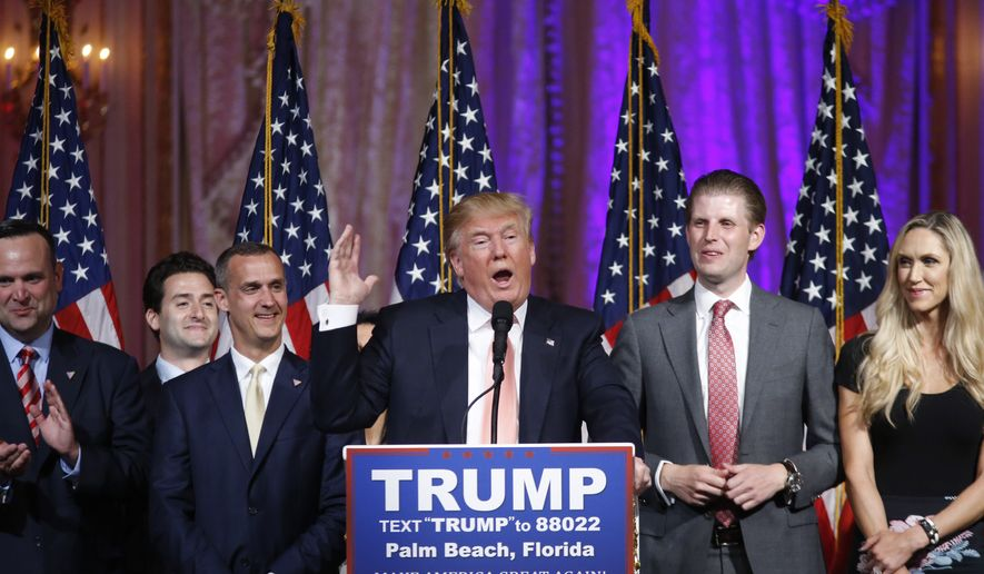 Republican presidential candidate Donald Trump speaks to supporters at his primary election night event at his Mar-a-Lago Club in Palm Beach, Fla., Tuesday, March 15, 2016. (AP Photo/Gerald Herbert)