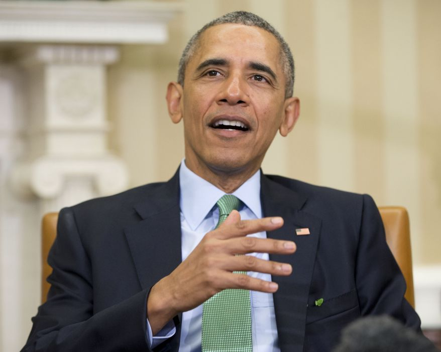 """President Obama told a bipartisan group of lawmakers that he is """"more than a little dismayed about what's happening on the campaign trail lately."""" (Associated Press)"""