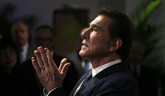 "Casino mogul Steve Wynn gestures during a a news conference regarding his proposed $1.7 billion casino complex, tentatively named ""Wynn Boston Harbor"", in Medford, Mass., Tuesday, March 15, 2016. (AP Photo/Charles Krupa) ** FILE **"