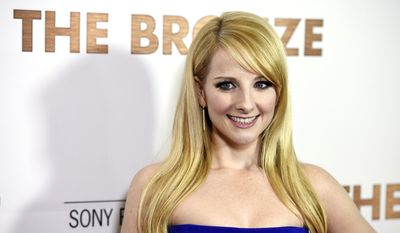 """Melissa Rauch, a cast member and co-writer of """"The Bronze,"""" poses at the premiere of the film at the Pacific Design Center on Monday, March 7, 2016, in West Hollywood, Calif. (Photo by Chris Pizzello/Invision/AP)"""