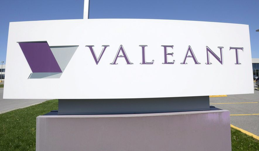 FILE - This May 27, 2013, file photo shows signage at Valeant Pharmaceutical's headquarters in Montreal. Valeant reports financial results Tuesday, March 15, 2016. (Ryan Remiorz/The Canadian Press via AP, File) MANDATORY CREDIT