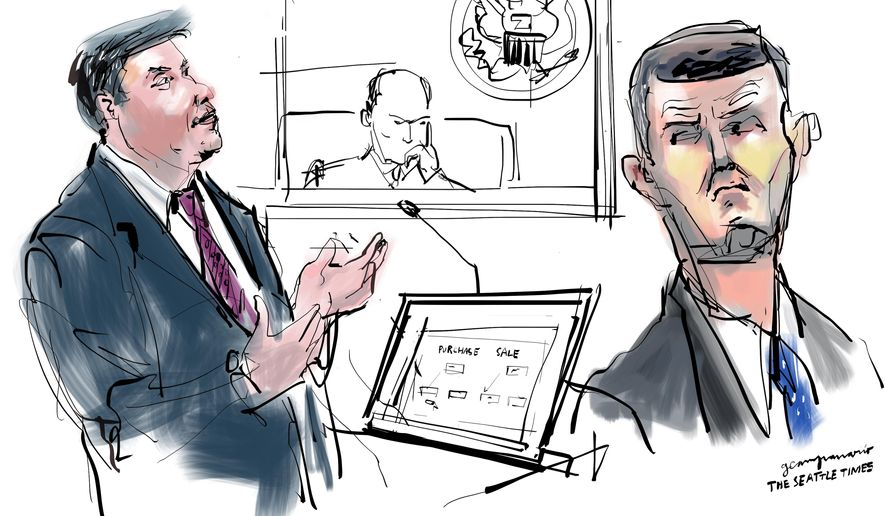 In this courtroom sketch, a prosecutor addresses the jury in the trial of indicted Washington State Auditor Troy Kelley, right, Tuesday, March 15, 2016, in Tacoma, Wash. A lawyer for Kelley is telling jurors her client didn't steal money from anybody or cheat on his taxes. (Gabriel CampanarioThe Seattle Times via AP) SEATTLE OUT; USA TODAY OUT; MAGS OUT; TELEVISION OUT; NO SALES; MANDATORY CREDIT TO BOTH THE SEATTLE TIMES AND THE PHOTOGRAPHER