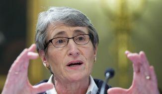 Interior Sally Jewell testifies on Capitol Hill in Washington.  (AP Photo/Manuel Balce Ceneta)