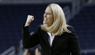 FILE - In this Jan. 14, 2016, file photo, Maryland head coach Brenda Frese reacts after a call during the second half of her team's NCAA college basketball game against Michigan, in Ann Arbor, Mich. Regardless of how Maryland fares in the NCAA Tournament, this group of gritty players will always be remembered by coach Brenda Frese for their ability to shine in the face of adversity. (AP Photo/Carlos Osorio, File)