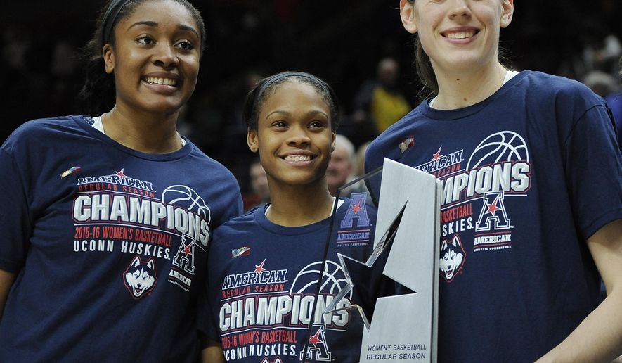 FILE - In this Feb. 24, 2016, file photo, Connecticut seniors, from left, Morgan Tuck, Moriah Jefferson and Breanna Stewart pose with American Athletic Conference regular season championsh trophy after their 88-41 win over SMU in an NCAA college basketball game against SMU, Wednesday, Feb. 24, 2016, in Storrs, Conn. UConn's recruiting class in 2012 came to Storrs with very high expectations. The trio already have exceeded most of those and on Saturday, begins the NCAA Tournament hoping do something no other college players have ever done, play on four straight national championship teams. (AP Photo/Jessica Hill, File)