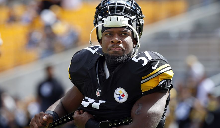 Pittsburgh Steelers inside linebacker Terence Garvin (57) warms up before an NFL football game between the Pittsburgh Steelers and the San Francisco 49ers,  Sunday, Sept. 20, 2015, in Pittsburgh. (AP Photo/Gene J. Puskar)